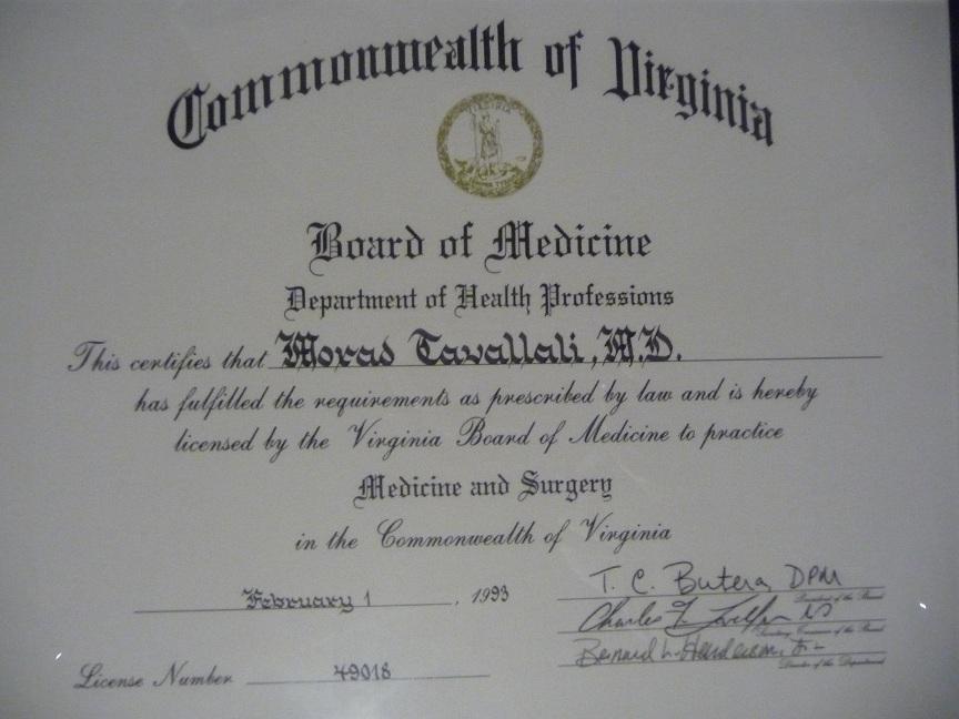 VA License Dr. Tavallali.JPG