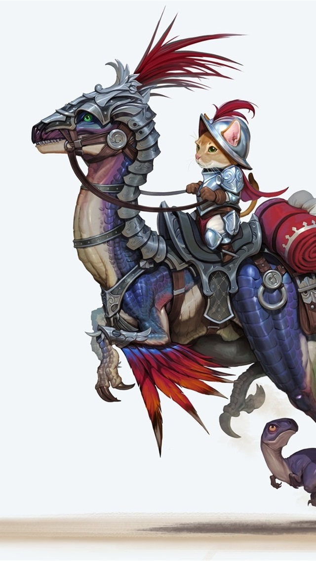 Cat-riding-dinosaur-knight-mouse-butterfly-art-picture_iphone_640x1136.jpg